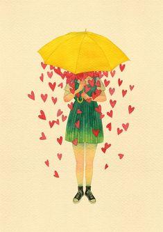 Creative Poster Design, Creative Posters, Rain Painting, Painting & Drawing, Love Illustration, Drawing Skills, Cartoon Pics, Cute Art, Art Girl
