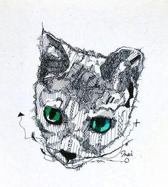 精密画「銀猫」[あめぐも]   ART-Meter