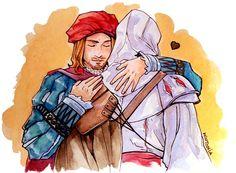 Ezio and Leonardo. I squealed when I had the option to hug Leo. It made me so happy!!! X3