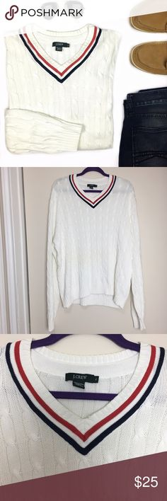 "J. Crew White V-Neck Ribbed Cable Knit Sweater Super cool sweater that can be used year round. It comes in white and features a v-neck with red and white trimming and ribbed cuffs and hem. 100% cotton. Length: 26"" Chest: 27"" Sleeve Length: 27"" Shoulder to Shoulder: 22"" J. Crew Sweaters V-Neck"