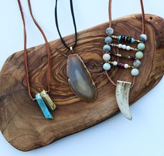 Agate Slice + Leather Necklace