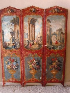Victorian Hand Painted Leather and Silk Tri Fold Screen