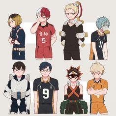 My Hero Academia x Haikyuu - characters with the same VAs Anime Meme, Funny Anime Pics, Cute Anime Guys, Anime Girls, Manga Girl, Film Anime, Me Anime, Fanarts Anime, Otaku Anime