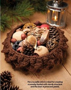 **PATTERN ONLY - Not the Finished Product - PATTERN ONLY**  W604 Crochet PATTERN ONLY Pinecone Basket Pattern Thanksgiving Christmas    Offered is a Crochet Pinecone Basket Pattern - Great for Christm
