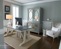 Blue Gray Walls Design, Pictures, Remodel, Decor and Ideas #Homeoffice