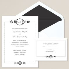 Lovely Elegance Wedding Invitation | #exclusivelyweddings | #blackandwhitewedding