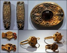 Ashmolean Museum, Oxford  Jewellery : silver, gold, glass and garnet. Frankish 600-700, Picquigny, France. Strap-ends : silver and gold,Anglo Saxon 850-900  Oxforshire,England