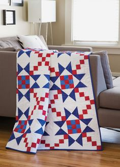 Make this bold patriotic quilt in red, white, and blue solids. It's a great choice for a Quilt of Valor project.