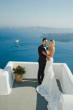Honeymoon in Santorini. Images: Anna Sulte Photography | Wedding Dress by Steven Khalil | Venue: Chromata Hotel