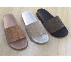 Womens Ladies Rose Diamante Comfy Rubber Slider Flat Shoes Slides Slippers
