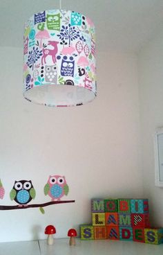 Owl Lampshade Nursery Lamp Shade Woodland Decor Children Light Shades Baby Gifts Enchanted Forest Pink