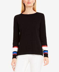 454260437066c1 Vince Camuto Cotton Colorblocked Sweater - Black S