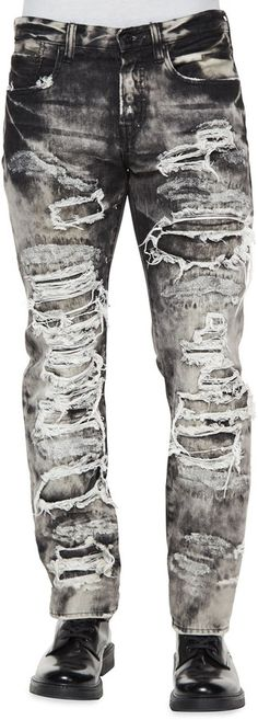 PRPS Dalia Destroyed & Distressed Denim Jeans, Black/White