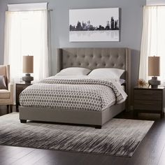 Diamond Tufted Wingback Bed in Grey (Queen)