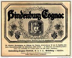 Original-Werbung/ Anzeige 1916 - HINDENBURG COGNAC - ca. 150 x 120 mm