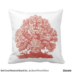 Shop Red Coral Nautical Beach Decor Throw Sea Life Throw Pillow created by BeachThrowPillows. Red Coral, Coral Color, Coral Throw Pillows, Custom Pillows, Nautical, Red And White, Tech, Fabric, Elegant