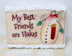 Mini Canvases Mixed Media - Winter Theme - Snowmen - Rustic Home Decor - Christmas Decor - Holiday Decor - Charming