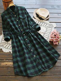 Drawstring Design Plaid Shirt Dress - BLACK/GREEN ONE SIZE