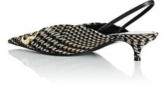 Balenciaga Checked Tweed Slingback Pumps - 10.5