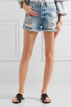 FRAME - Rigid Re-release Le Original Distressed Denim Shorts - Mid denim - 24