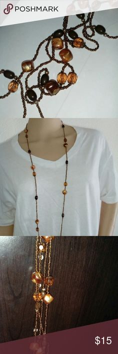 "Glass Beaded Necklace Boho Beach Style Approx 32"" Glass beads Colors:  Burnt Orange Metallic Coffee Bronze Great condition beach boutique Jewelry Necklaces"