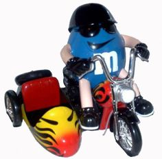 All M M Candy Characters | ... RARE Variant with Flames Motorcycle w/ Side Car M & M Candy Dispenser