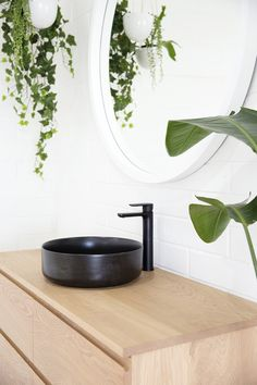Noosa Bathroom Vanity, made to order from your choice of timber, dimensions and configuration. Pictured here in Solid American White Oak and black Tapware and basin. Timber Bathroom Vanities, Timber Vanity, Black Taps, Building A New Home, White Oak, Scandinavian Style, Basin, Bathrooms, New Homes