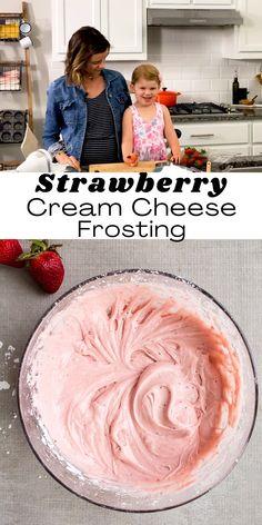 Strawberry Frosting Recipes, Strawberry Cream Cheese Filling, Strawberry Cream Cakes, Strawberries And Cream, Strawberry Birthday Cake, Cream Cheese Buttercream, Cupcakes With Cream Cheese Frosting, Cake With Cream Cheese, Pink Frosting
