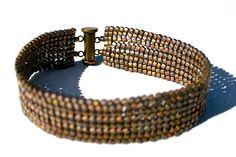 Dark Gold Glass Bead Herringbone Cuff by SleepingCatsJewelry