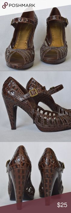 """""""BCBGirls"""" BROWN MARY JANE SANDALS """"BGBGirls"""" 4"""" BROWN MARY JANE SANDALS. GENTLY LOVED. STRAP + GOLD BUCKLE. (BUSINESS FASHION. CHIC PROFESSIONAL. BCBG.) BCBGirls Shoes Heels"""