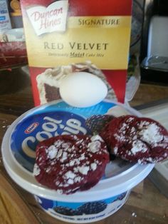 Red velvet cake mix,  one egg,  one container of cool whip,  mix and make cookies balls and roll lightly in powdered sugars, bake at 350 fir12 minutes and viola! This is a great cookie!