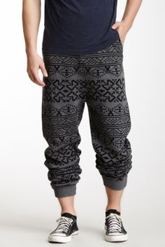 "Tribal Pant in grey/black by Standard Issue $88 - $44 @HauteLook. - Rib elasticized drawstring waist - 2 front pockets - 2 back pockets - Allover tribal pattern - Ribbed knit trim - Approx. 17.5"" rise, 33"" inseam"