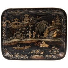 Chinoiserie Papier Mâché Tray by Henry Clay   From a unique collection of antique and modern serving pieces at https://www.1stdibs.com/furniture/dining-entertaining/serving-pieces/