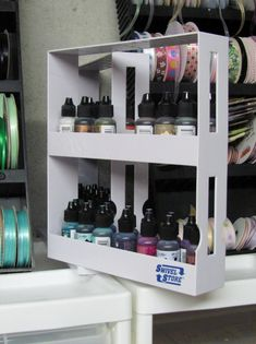 """As Seen On TV Topic: In the studio I have been moving my alcohol inks from place to place and from one kind of rack/box/shelf to another. Then I was walking through the store the other day and came to the section for 'as seen on TV' products. There I found a spice storage rack that has two sections that slide out and rotate to make the items accessible.  Well, I thought that looked like just the thing for the alcohol inks, and for $10 I brought it home.  I used the inks to color up 1/4"""" dots…"""