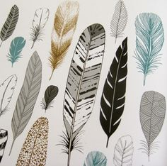 "Feather pattern by Elouis Renouf from ""20 Ways to Draw a Tree"" a book about doodling nature. #patterns #graphic #design"
