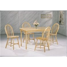 Damen Rectangle Leg Dining Set In Warm Natural Wood Finish By Coaster By Coaster Home