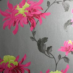 Fabulous Floral Wallpaper by Julien McDonald - Pink Flower Wall Coverings by Graham Brown
