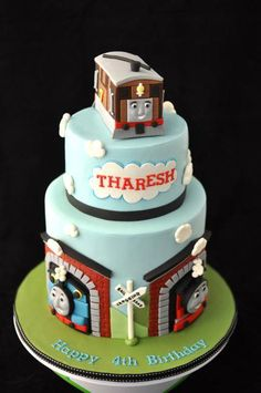 Thomas the Train Cake but with Percy on Top Thomas Birthday Cakes, Thomas Birthday Parties, Thomas Cakes, Thomas The Train Birthday Party, 4th Birthday Cakes, Trains Birthday Party, Train Party, Birthday Decorations, Little Boy Cakes
