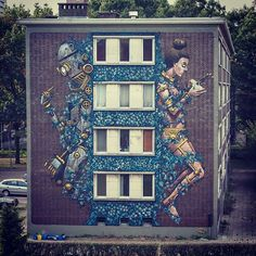 Street Art by Pixel Pancho for Day One Urban Art Festival in Antwerp, Belgium 3d Street Art, Murals Street Art, Best Street Art, Amazing Street Art, Street Artists, Amazing Art, Graffiti Art, Urban Graffiti, City Art