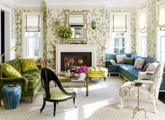 Colourful Connecticut home by Ashley Whittaker project in the March 2018 issue of House Beautiful. The gorgeous Greek Revival home is located in Darien, Connecticut and serves as a weekend escape for Whittaker's lucky clients Living Room Furniture, Home Furniture, Living Room Decor, Furniture Sets, Lounge Furniture, Living Room Designs, Living Spaces, Living Rooms, Greek Revival Home