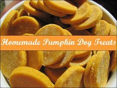 Homemade Pumpkin Dog Treats  1/2 C. canned pumpkin (NOT pumpkin pie filling), 4 T molasses, 4 T water, 2 T vegetable oil, 2 C whole wheat flour, 1/4 t baking soda, 1/4 t baking powder, 1 t cinnamon (optional), 1. Preheat oven to 350 degrees. 2. Blend wet ingredients  3. Add the dry Ingredients. Stir until a soft dough forms. 4. Grab a teaspoonful & roll it into balls. Drop the balls onto cookie sheet & flatten with a fork. 5. Bake until hard (approximately 25 minutes).