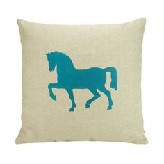 Teal Modern Horse Print on a Natural Linen Canvas 16 x 16 inch Cushion Cover