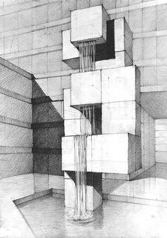 Studio Rysunku Koletek Architecture Concept Drawings, Architecture Art Design, Architecture Sketchbook, Pavilion Architecture, Geometric Drawing, Geometric Art, Perspective Drawing Lessons, Point Perspective, Isometric Sketch