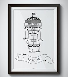 Hand drawn AIR BALLOON birth print personalize  with name - date - place - weight - length - time - and color of print. Perfect gift for babies, baptism gift, baby shower, newborn, name print, personalized  moldvarp design www.moldvarpdesign.no Air Balloon, Balloons, Baptism Gifts, Hand Drawn, Baby Gifts, Birth, How To Draw Hands, Baby Shower, Babies