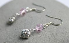 Pink Czech Glass and Flower Dangle Earrings by creationsbycandice