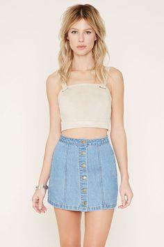 Button-Front Denim Skirt | Forever 21 - 2000152220