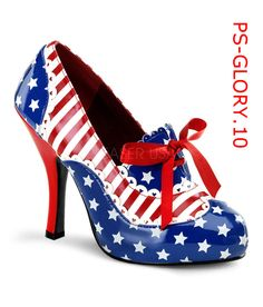 e7220c4e10a Size  6 Color  Red White Blue 4 High Heel Patriotic Lace up Oxford Platform  Pump Featuring Stars   Stripes Women s Shoe