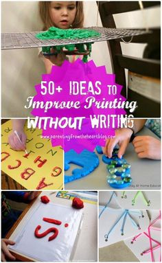Want to work on your child's printing and fine motor skills for hand-writing? Heere are 50+ ideas to improve letter recognition, pincer grip, hand strength, hand-eye coordination, all skills necessary to improve printing without writing. All ideas are centred in play-based learning :)