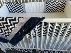 Chevron crib set- 3 piece set- WITH MINKY custom made to order-