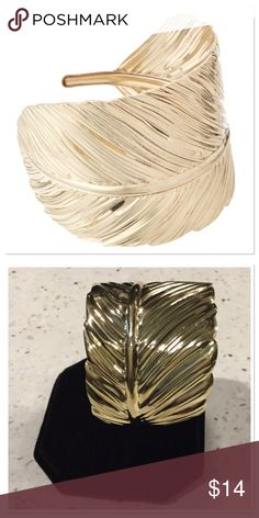 """Gold Leaf Cuff Wide leaf design, this radiant gold Cuff flaunts a artful look and nature inspired style, 2"""" wide, 18k gold-plated brass, NWOT Boutique Jewelry Bracelets"""